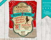 Hoedown - A Cowgirl Western Birthday Party Invitation - Red Bandanna, Burlap, Glitter, Lace - Red and Turquoise