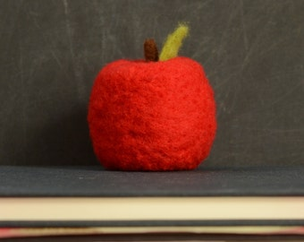 Needle Felted Apple - red autumn, fall, thanksgiving, harvest teacher gift