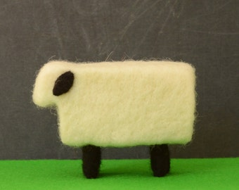 Needle Felted Sheep - farm animals felted miniature home decor eco friendly modern white black