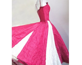 1950s Red Taffeta Dress-Costume with white panels and netting/ stage / TV/ theater / Rockabilly