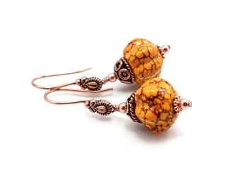 Pumpkin Earrings Magnesite and Copper