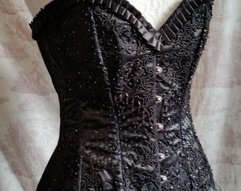 SALE Hand beaded Overbust Corset  30 inch waist BURLESQUE  Steampunk Corset Lace Lolita Gothic By Gothic Burlesque