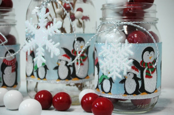 Penguin holiday christmas decor set of 3 by for Christmas table decorations using mason jars