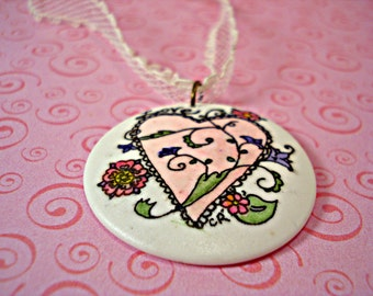 Love Heart  pendant necklace hand painted jewelry on vintage lace and chain