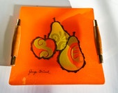 Rare Georges Briard signed Glass Tray Wood Hors d'oeuvres Orange Apple Pear