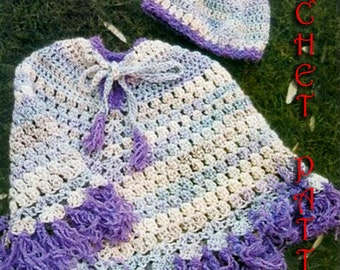Crochet for  Girls Poncho, Pattern INSTRUCTION only, PDF Files