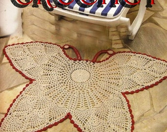 Crochet Pattern Butterfly outdoor or indoor rug in PDF.