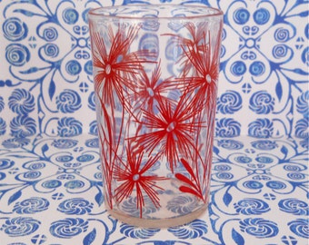 1950's Red Flowers Glass Tumbler