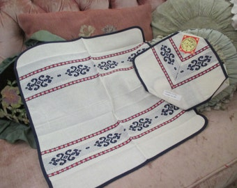 Vintage Red White Blue Linge Stripe Basque French Embroidered Placemat Napkin Table Set  C79
