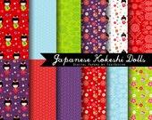 Japanese Kokeshi Dolls-  INSTANT DOWNLOAD Japanese Patterns Digital Paper Set