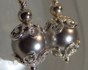 Swarovski Crystal Pearl and Sterling Silver Earrings