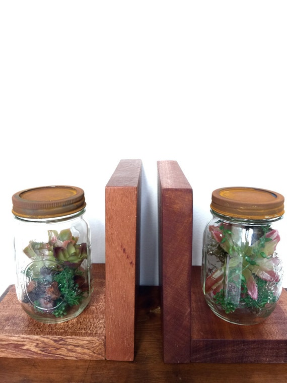 rustic mahogany and mason jar bookends
