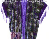 Maya Kimono Opera Coat Duster Beaded Silk Burnout Velvet Peacock Purple PLUS - Made in USA