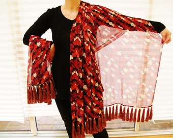 Silk Chiffon Shawl, Wrap with 64 Gorgeous Tassel Fringe by the Old Silk Route