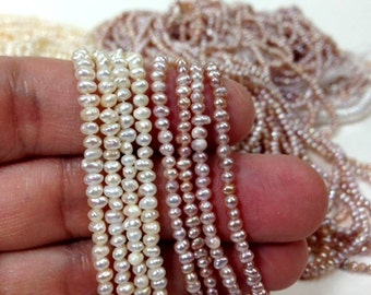AA Grade Seed Pearl 2 to 3 mm Freshwater Pearl Small Nugget Beads - White , Peach or Blush Full Strand (G2539W35Q5C)