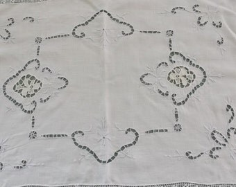 Vintage Doily White Cotton with Blue and Beige Cutwork and Embroidery, Lace Edge