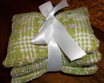 Set of 3 Lavender Sachets  -  Chanel Type plaid fabric