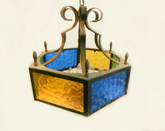 Mid Century Stained Glass Chandelier