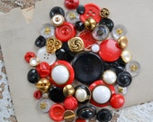 Vintage Button Lot - Black, Red and Gold Set - Mix 813