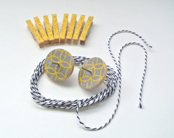 Photo Hanging Kit ~ Card Hanging Kit ~ Mini Clothespins ~ Baker's twine ~ Nail Covers ~ Yellow and Gray
