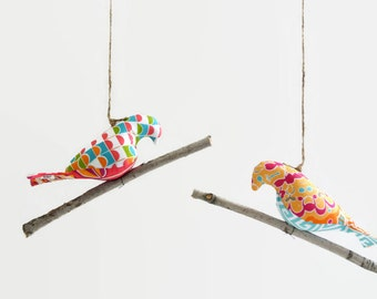 Bird on a Twig in Bright Orange, Pink, Blue and Green ~ Home Decor ~ Nursery Decor