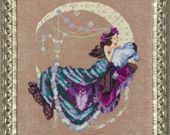 MOON FLOWER - Mirabilia Counted Cross Stitch Pattern Needlework Chart Pattern Needlecraft Pattern - fantasy cross stitch moon