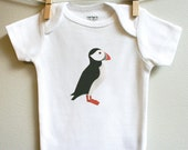 Puffin baby onesie. Short or long sleeve. Your choice of size.