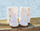 Crochet Baby Booties Wrap Boots Made to Order. You customize the colors. 0-12 months