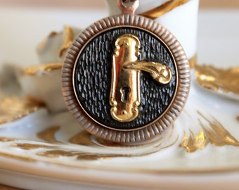Glass Door Knob Pendant - Vintage Unusual Black and Gold Glass Keyhole Eustachian Cameo Necklace