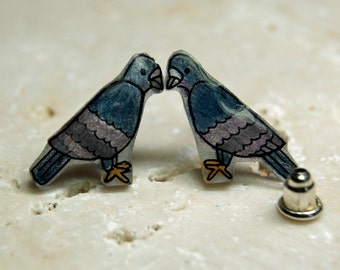 Pretty Pigeon Earrings -  Illustrated Hand-Made by Wendy Ferguson Designs