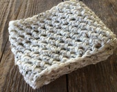 Scarf - Chunky - Cowl Neck Scarf - Women's -  Crochet Infinity Scarf - Ivory Tweed - Winter Scarves