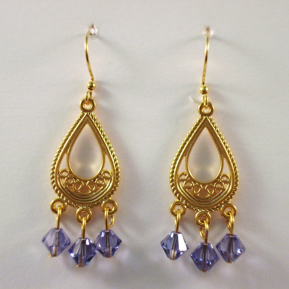 Tanzanite Swarovski Crystal & Gold Earrings / / Swarovski Crystal Chandelier Earrings
