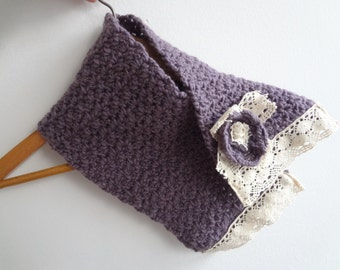 Winter Cowl for the Mori girl - purple, violet, crocheted cowl, crocheted scarf, mori cowl, kawaii, statement scarf, lace, c