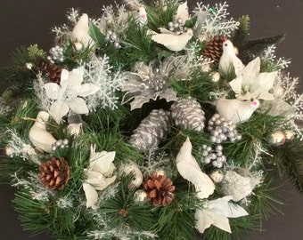 """Handmade Holiday Wreath with Silver accents, Poinsettias, Pine Cones,Fabric Snowflakes, Glass Ornaments,  White Feathered Dove / Approx 27"""""""