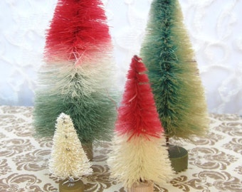 Bottle Brush Christmas Trees table decor Red Green cream Candy Cane Stripe Set of 4