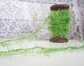 Green tinsel twine, green tinsel trim, green mini tinsel, gift wrapping ribbon, eyelash trim, baby nursery garland, wedding garland,
