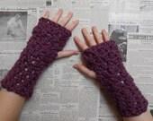 Chunky Crocheted Wristwarmers - Fig