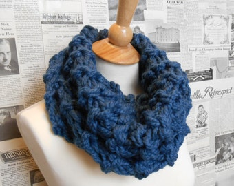 Outlander Inspired Chunky Cowl - Denim Blue
