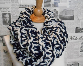 Outlander Inspired Chunky Cowl - Navy and Cream