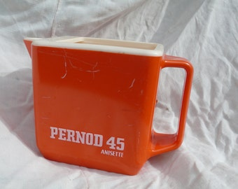 Pernod 45 Pitcher, Vintage Water Jug, Retro Home Decor, Ricard advert, Vintage Bar Accessory, Retro Orange Pitcher, French Promotional Jug