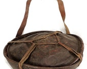 Ethiopian Lidded Bread Basket Leather Covered African 68268
