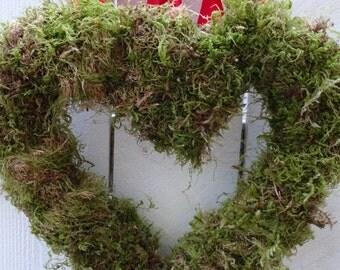Woodland Wedding  Heart Wreath  Moss Wreath  Valentine Wreath   Valentine Gift  Woodland Wedding Decor