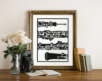 Oboe Art Giclee Print - Woodcut Style - Oboe Illustration, Woodwind Instrument Art, Oboe Print, Oboe Art, Black and White