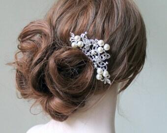 Bridal Swarovski Crystal Pearl  Hair comb.  Vintage style jewel Rhinestone Wedding Head piece.  Pearl Scroll