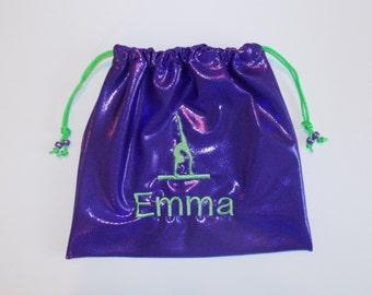 Personalized GYMNASTICS GRIP BAG w/ gymnast figure match to your team leotard ~warm up custom sports Birthday gift present includes monogram