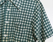 Men's Vintage Button Down Knit Shirt - 60s Short Sleeve Green Checks - 1960s Career Club - St Patty's Day