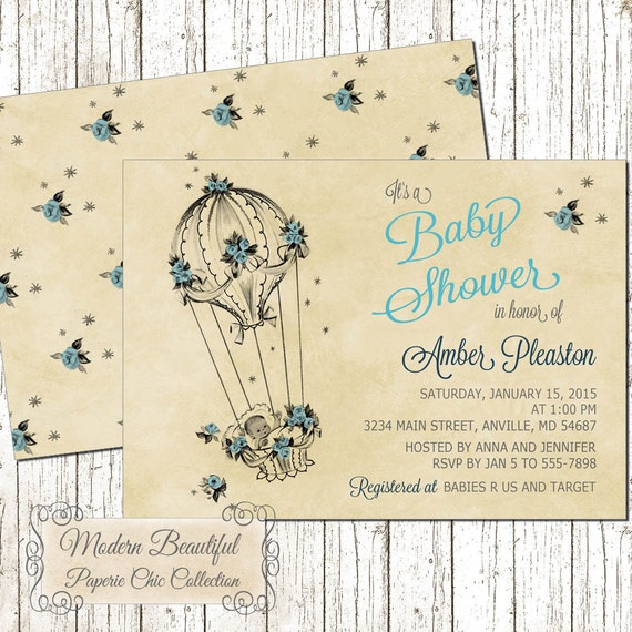 Baby boy balloon vintage baby shower invitation blue vintage baby il570xn filmwisefo