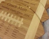 Football Cutting Board Coach Thank You Gift with Team Signatures