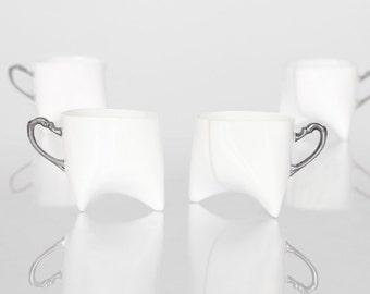 Porcelain coffee cups set of four - unique coffee mug or tea cup white with platinum, contemporary ceramic mug, handmade by Endesign