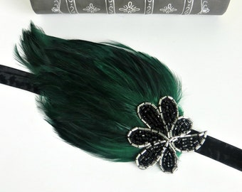 Green Downton Abbey Beaded Headband, Gatsby Headpiece, Art Deco Headband, 1920s Accessories, Flapper Headpiece 1920s Dress, Flapper Headband